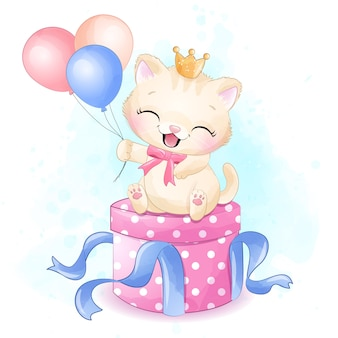 Gatinho bonitinho sentado na ilustração de caixa de presente
