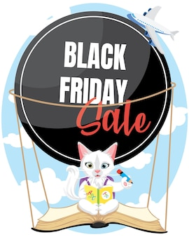 Gatinho bonitinho voando com o banner preto de venda sexta-feira. de volta ao cartaz da loja da escola.