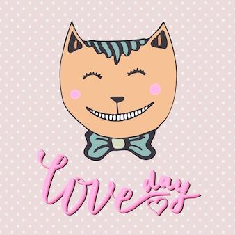 Gatinho bonito com coração cor de rosa. gato amoroso Vetor Premium