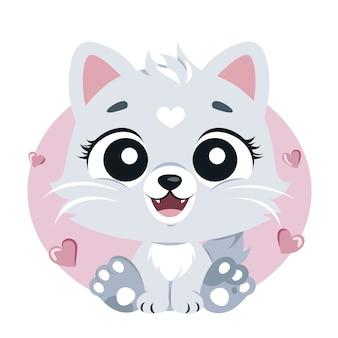Gatinho bonito dos desenhos animados com olhos grandes