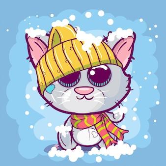 Gatinho bonito dos desenhos animados em um fundo da neve.