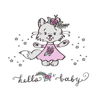 Gatinho bonito dos desenhos animados em um vestido rosa