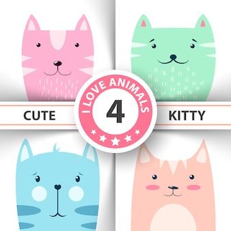 Gatinho bonito, engraçado, personagens de gato.