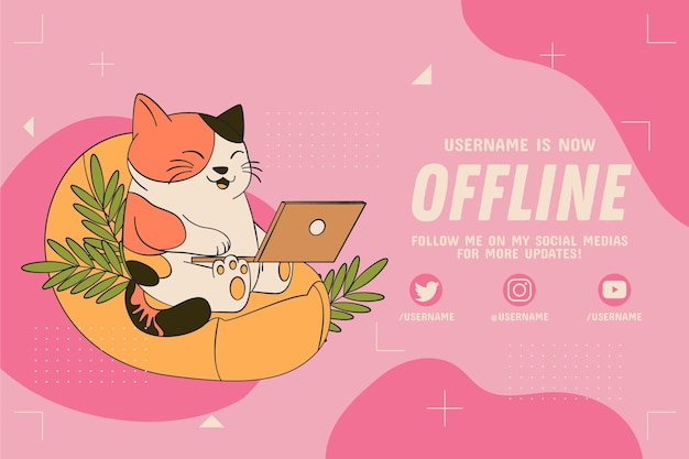 Gatinho de banner de contração offline na internet