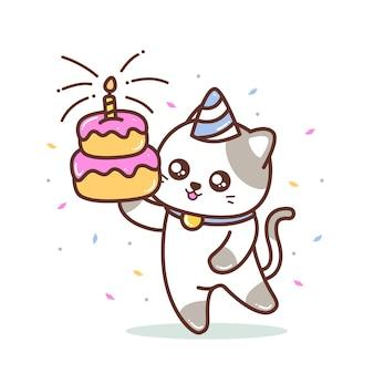 Gatinho fofo com ilustração de bolo de aniversário