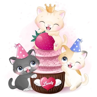 Gatinho fofo com ilustração de cupcake