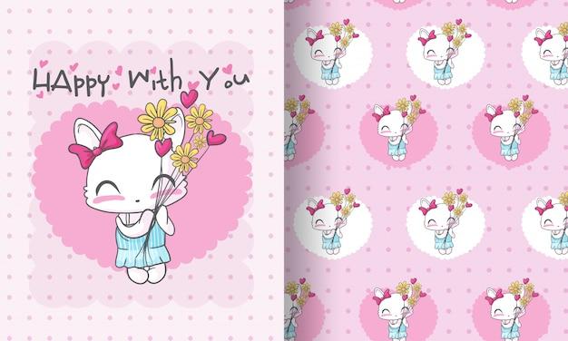 Gatinho fofo com ilustração de flores sem costura padrão para crianças