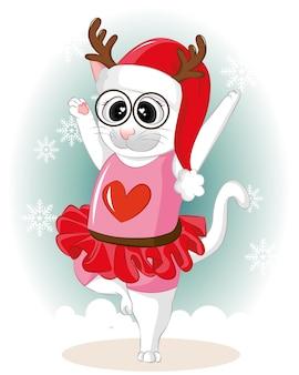 Gatinho fofo dançando com neve no dia de inverno. gato liso dos desenhos animados bonitos do vetor.