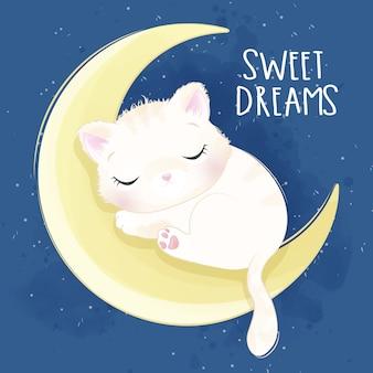 Gatinho fofo, dormindo na ilustração da lua