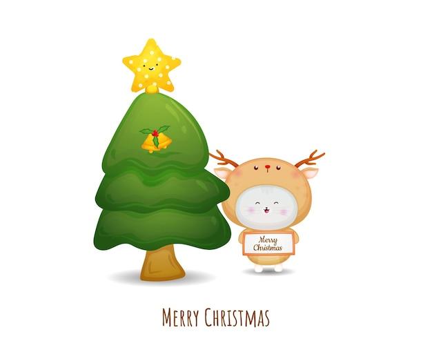 Gatinho fofo em fantasia de veado para feliz natal com ilustração de árvore de natal premium vector