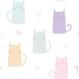 Gatinho fofo gato pastel dos desenhos animados sem costura padrão