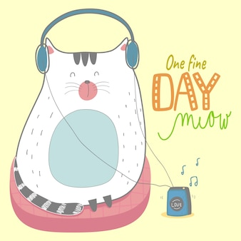 Gatinho fofo handdrawn gato bonito, miau, travesseiro, walkman, música
