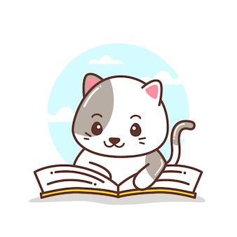 Gatinho fofo lendo um livro