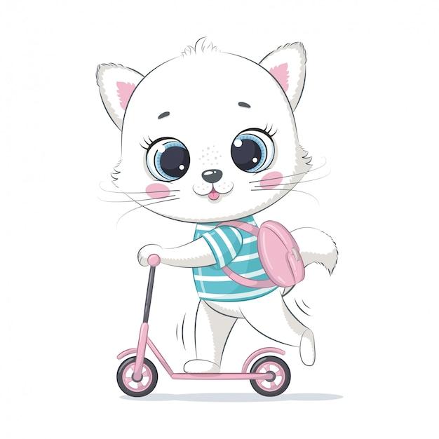 Gatinho fofo na scooter. ilustração para chá de bebê, cartão, convite para festa, impressão de t-shirt de roupas da moda.