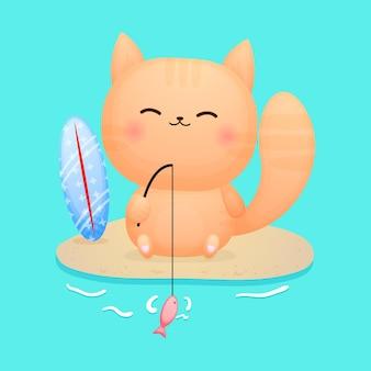 Gatinho fofo sentado e desenho de pesca