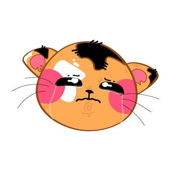 Gatinho kawaii fofo, engraçado, triste e chorando