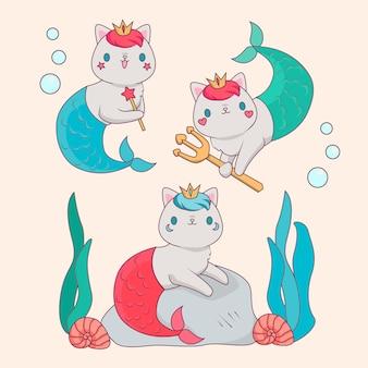 Gatinhos coloridos da sereia