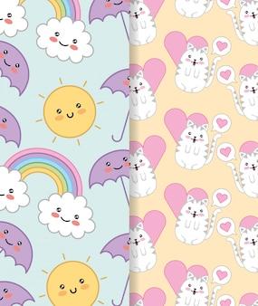 Gatinhos fofos com design de personagens de coração e arco-íris kawaii