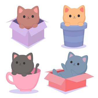 Gatinhos no conjunto de caixa e copo