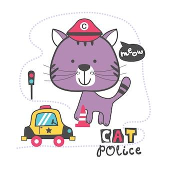 Gato, a polícia, desenho animado de animal