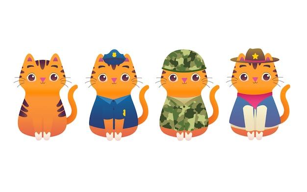 Gato adorável adorável kitty trabalhador profissional macot moderna ilustração plana personagem polícia, soldado, exército, fuzileiro naval, xerife, vaqueiro