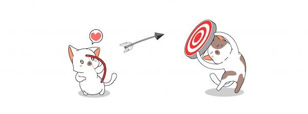 Gato adorável está atirando flecha para o gol