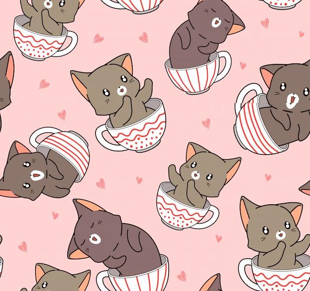 Gato adorável sem costura padrão dentro da xícara