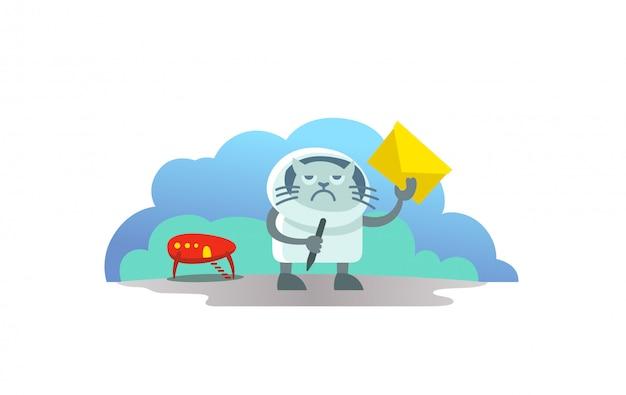 Gato alienígena em traje espacial chegou no foguete e trouxe carta carteiro. e-mail de assinatura de notícias engraçadas