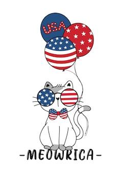 Gato ameowrica fofo 4 de julho dia da independência com óculos estrelas e listras, desenho animado doodle ilustração vetorial plana gatinho