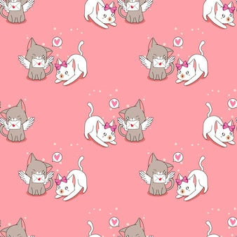 Gato anjo perfeito com padrão de carta de amor