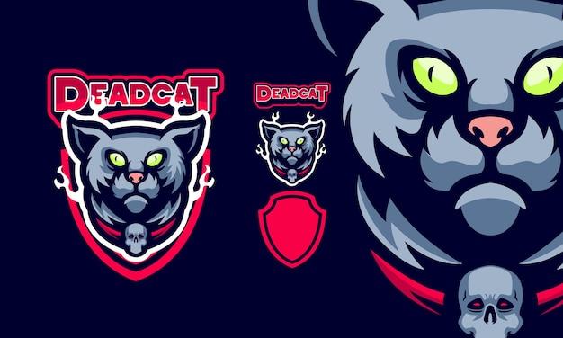 Gato assustador com logotipo do mascote do colar de caveira