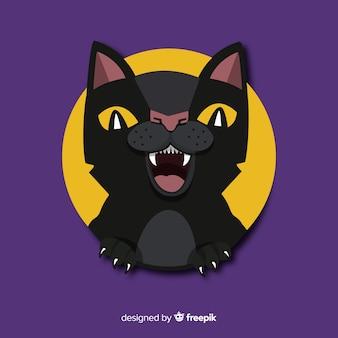 Gato assustador de halloween com design plano