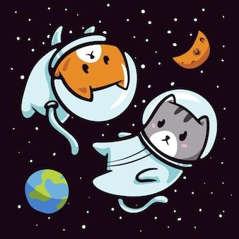 Gato astronauta na ilustração do espaço