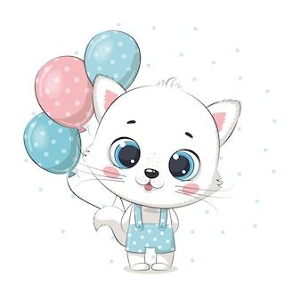Gato bebê fofo com balões. ilustração