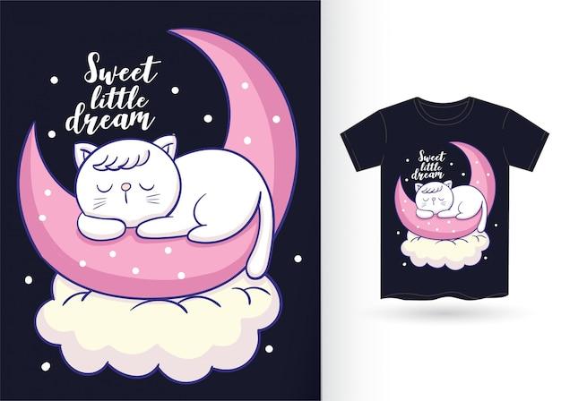 Gato bonitinho dormindo mão desenhada para camiseta