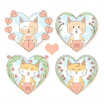 Gato bonito animal e raposa no coração do amor