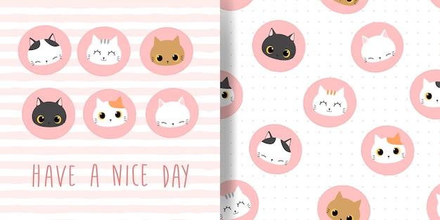 Gato bonito cabeça círculo distintivo ícone dos desenhos animados doodle sem costura padrão e capa de cartão