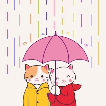 Gato bonito casal segurando guarda-chuva sob chuva colorida