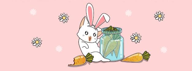Gato bonito coelho com cenoura que na garrafa