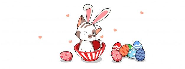 Gato bonito coelho no dia do ovo de páscoa