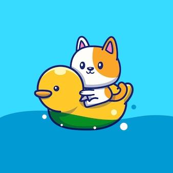 Gato bonito com anel de natação duck icon illustration. conceito de ícone de verão animal isolado. estilo cartoon plana