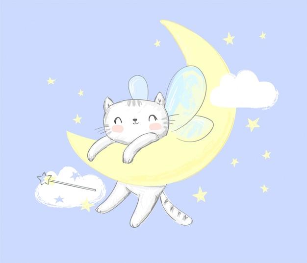 Gato bonito com asas dorme na lua.