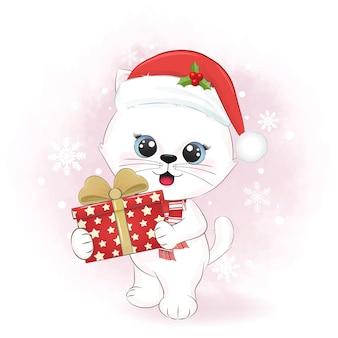 Gato bonito com caixa de presente no inverno e ilustração de natal.