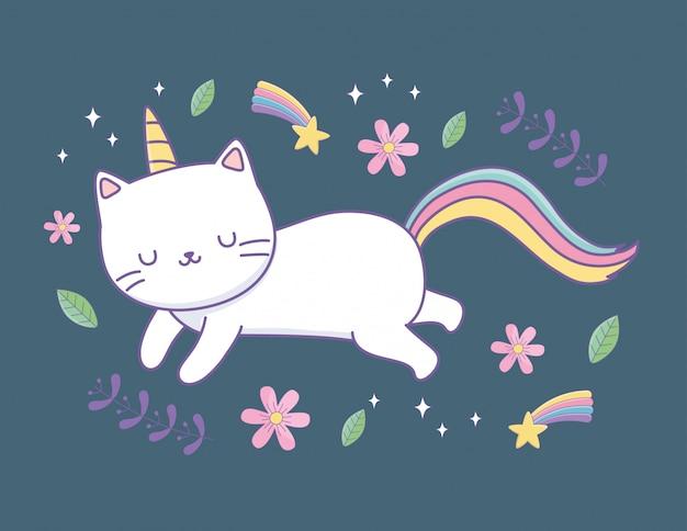 Gato bonito com caráter de kawaii de cauda de arco-íris