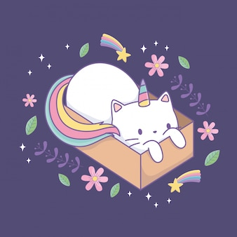 Gato bonito com cauda de arco-íris na caixa de papelão kawaii
