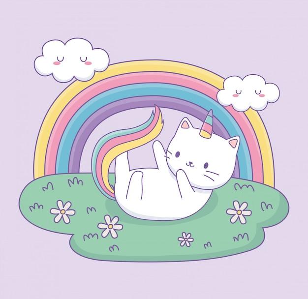 Gato bonito com cauda de arco-íris no personagem kawaii de acampamento