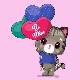 Gato bonito com corações de balão para o dia dos namorados.