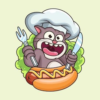 Gato bonito com desenhos animados hotdog. personagem de desenho animado do animal mascote com uma expressão fofa