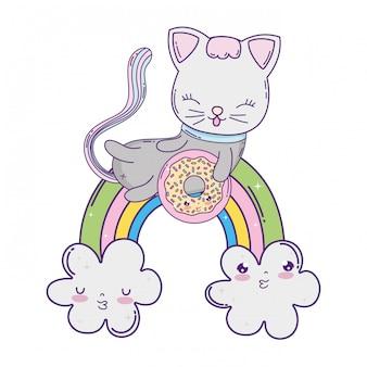 Gato bonito com donut no arco-íris