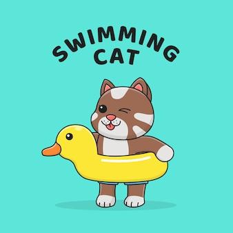 Gato bonito com flutuador de pato de borracha